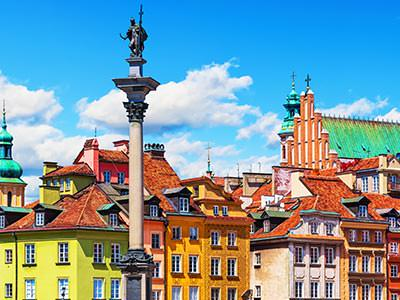 A view over colourful buildings in Warsaw.