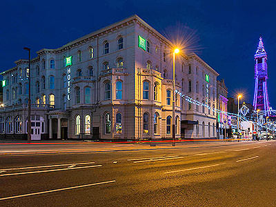 The exterior of Ibis Styles, Blackpool, at night