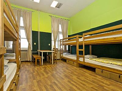 Bunk beds lining the walls of a lime green room