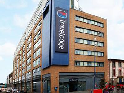Exterior of the Travelodge Central Bull Ring, Birmingham, during the day