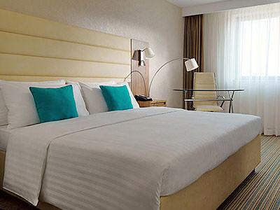 A double bedroom within the Marriott Hotel in Belgrade