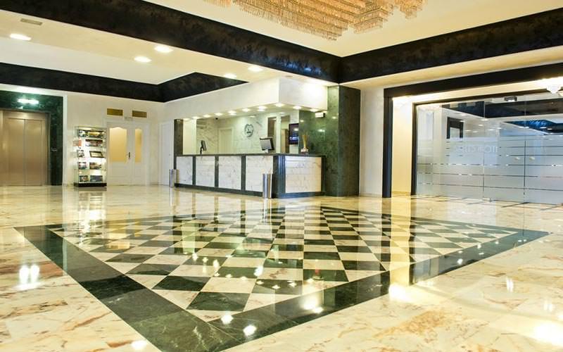 The hotel lobby at Hotel Pere IV