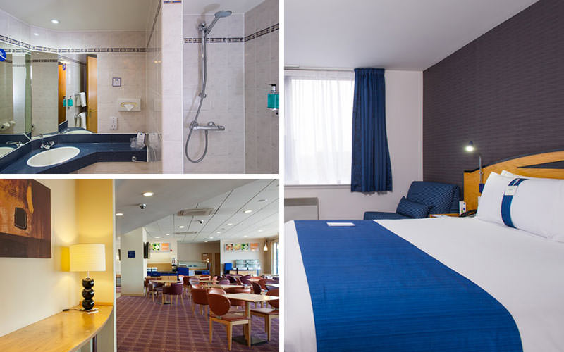 Four tiled images of the interiors of a bedroom, bathroom, lobby and desk area of Holiday Inn Express in Bristol