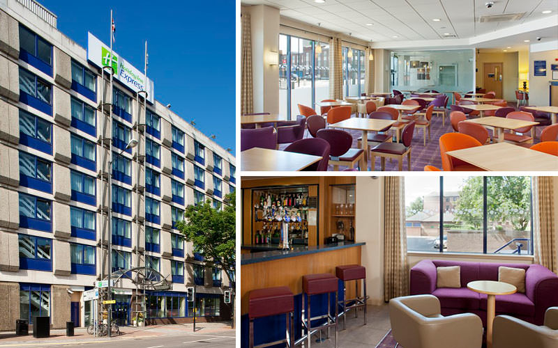 Three tiled images of the exterior of Holiday Inn Express in Bristol and the bar and dining room
