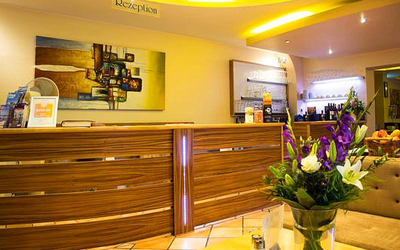 The reception desk of St Joseph Hotel