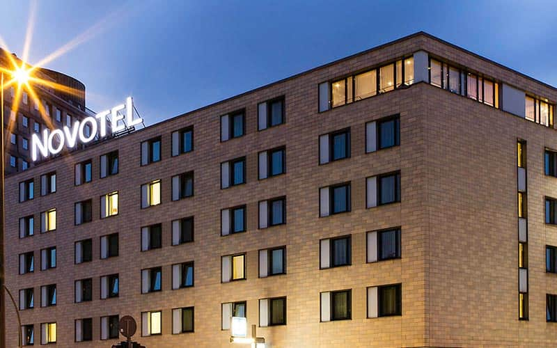 Exterior of Novotel Hamburg at night