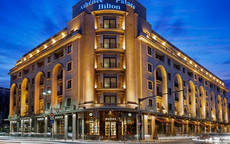 Exterior of Athenee Palace Hilton Bucharest at night