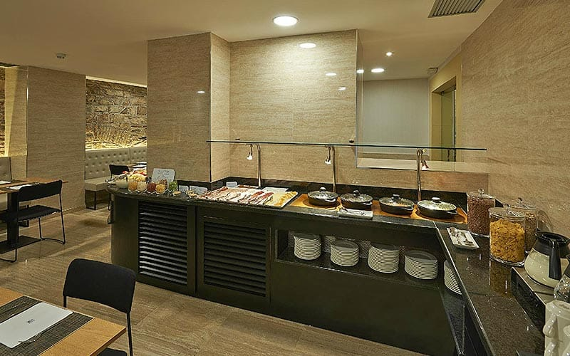 Buffet breakfast tops at the restaurant at Hotel Hesperia Barri Gotic