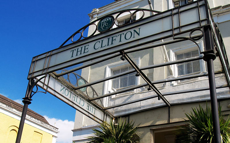 The exterior entrance of The Clifton Hotel, Bristol