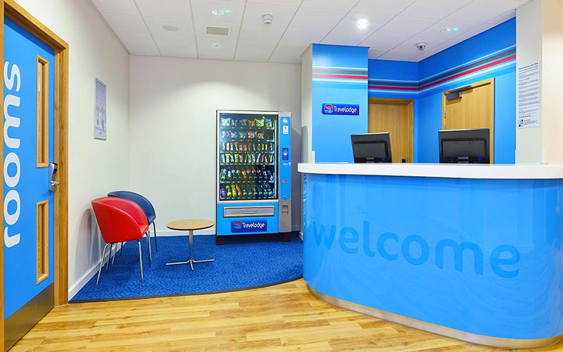 The reception desk at Travelodge Glasgow Queen Street