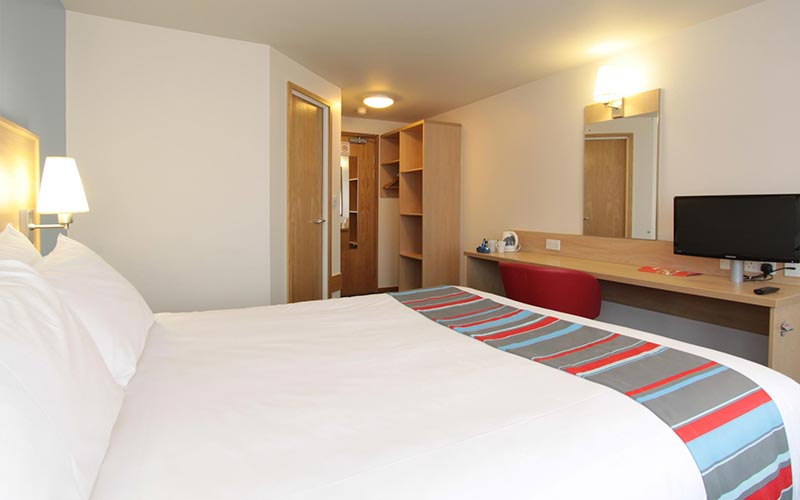 A double room in Travelodge Cardiff Central