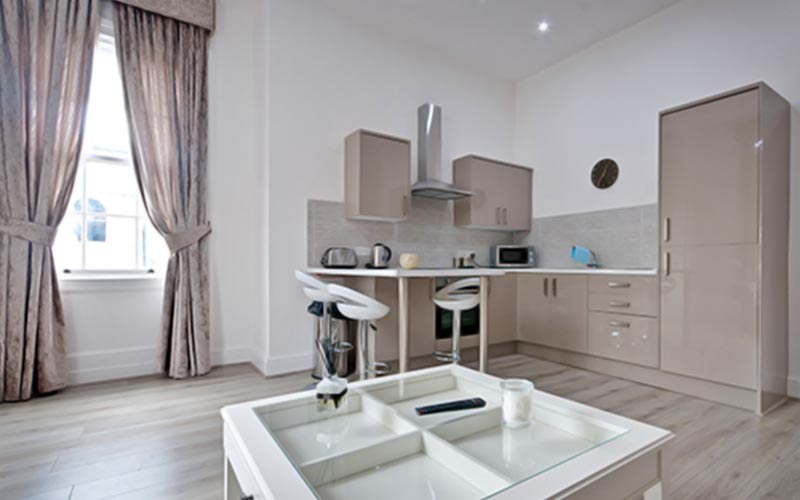 The kitchen area in the Rodney Street Apartments