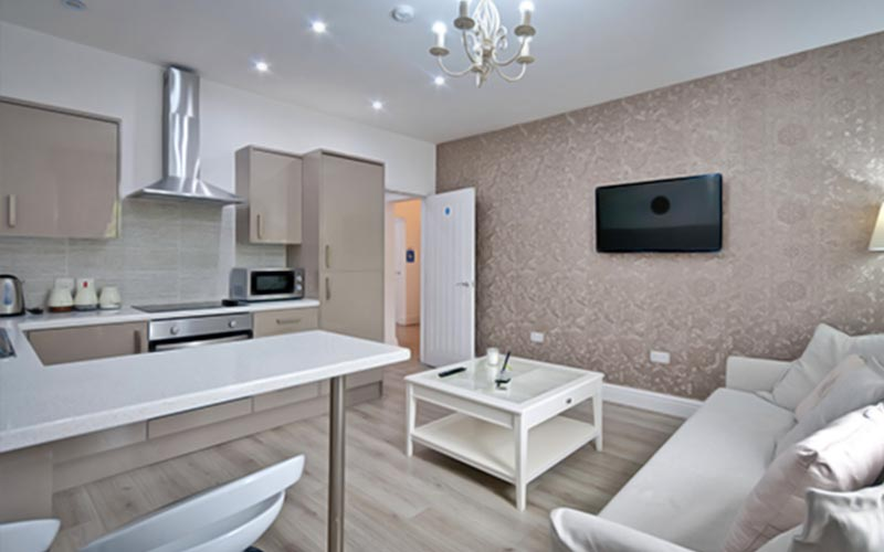 Kitchen and living area in the Rodney Street Apartments