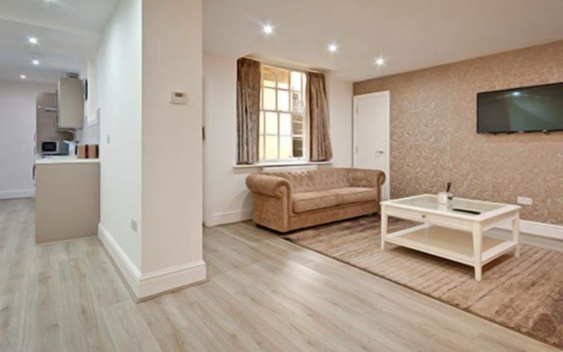 An open plan living area at Rodney Street Apartments