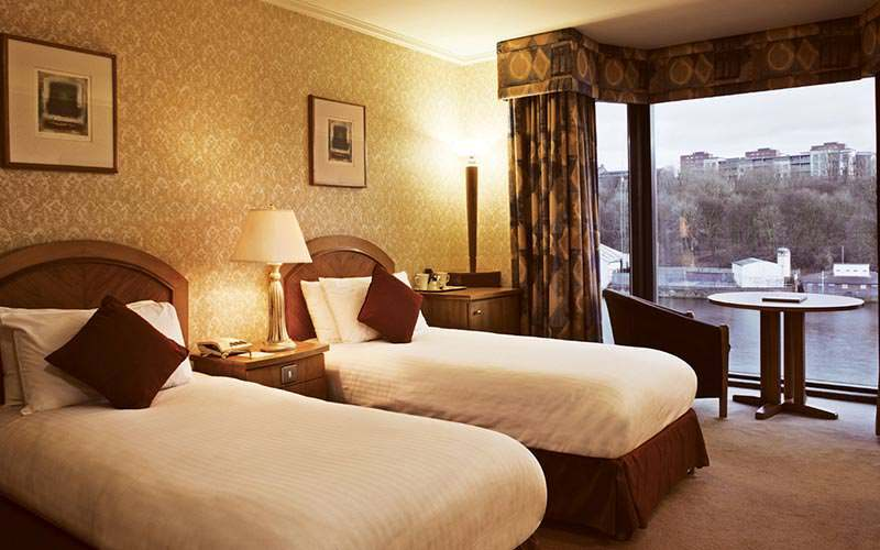 A traditional twin room looking over the Tyne