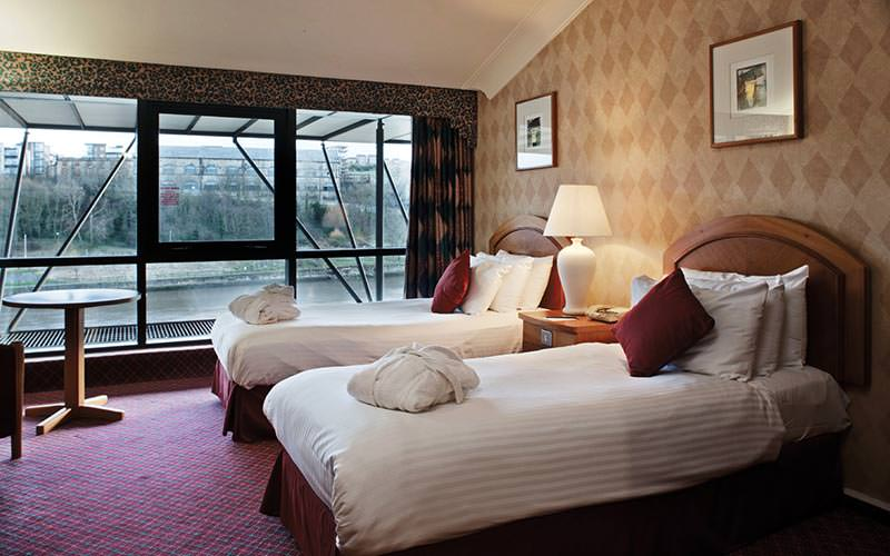 A plush twin room with a nice view of the Tyne