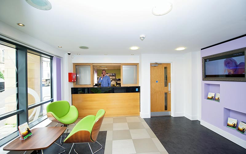 The reception area of CityLiveIn Apartments