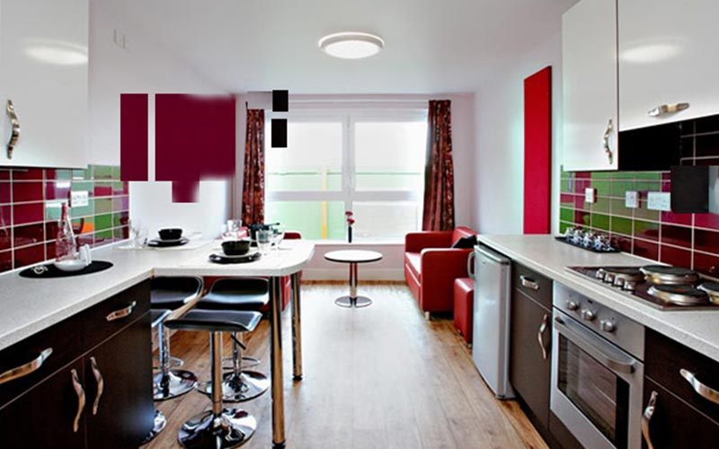 A living and kitchen area at CityLiveIn Apartments