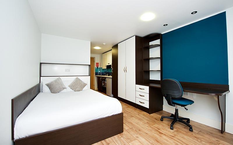 A studio apartment at CityLiveIn Apartments