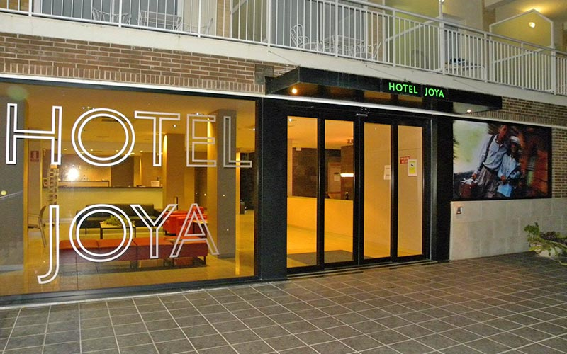 The exterior entrance of Hotel Joya