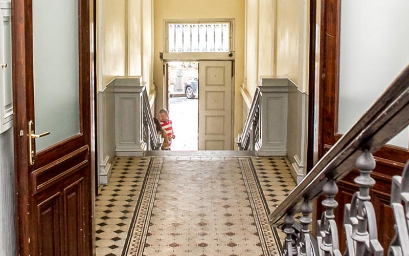 The entrance hall for the Riverview Apartments, Prague