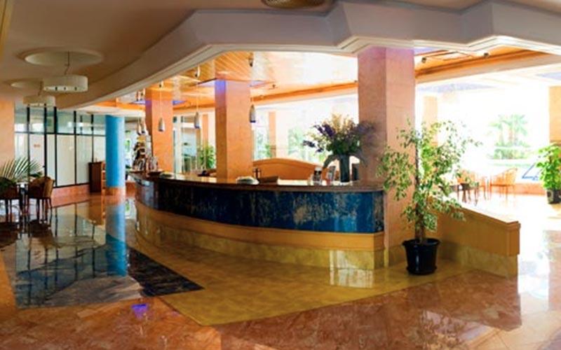 The reception area in Ibiza