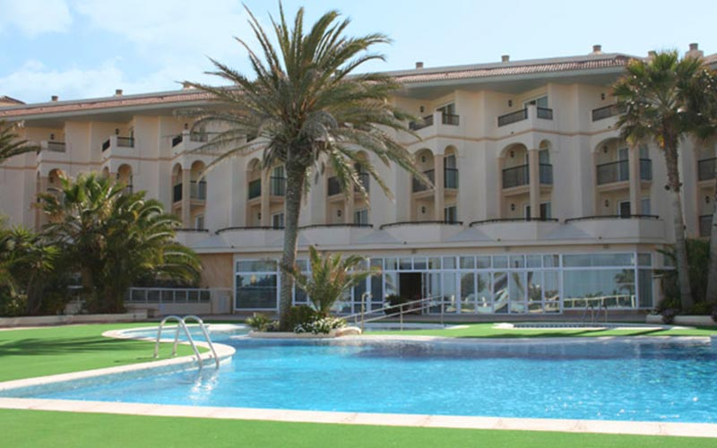 The exterior of Blau Park Hotel with the swimming pool visible