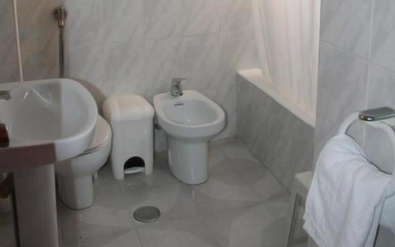 The bathroom area in Palm Court with a bidet, sink and bin