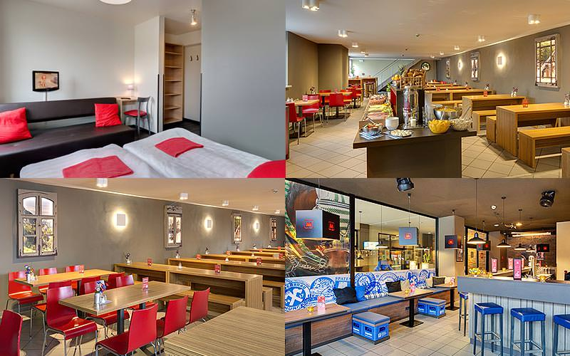 Four tiled images - featuring a hotel room, bar and restaurant area at Hotel Meininger, Munich