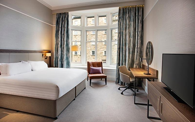 A double bedroom at Hilton Edinburgh Carlton