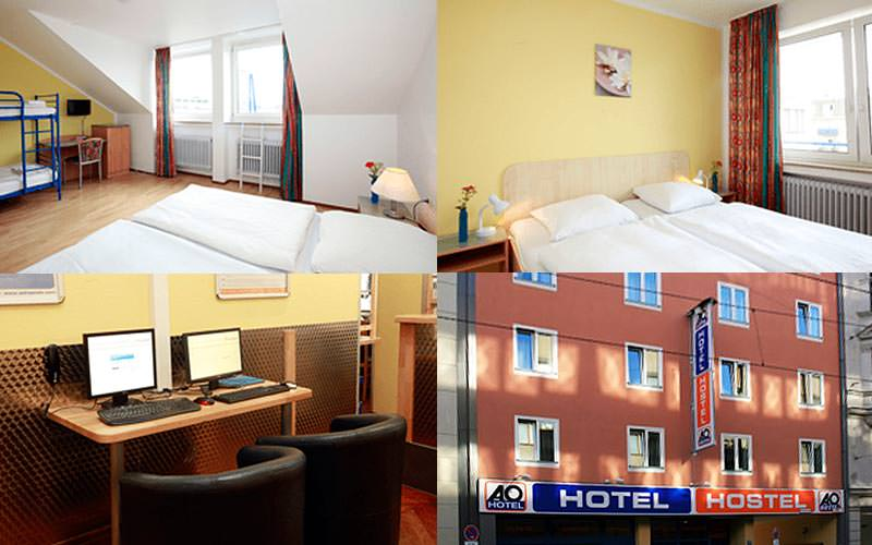 Four tiled images - featuring the A&O Hauptbahnhof exterior, hotel rooms and two computers on a desk with chairs