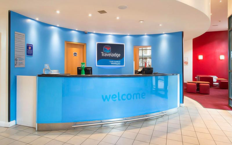 The reception area in Travelodge York Central Micklegate