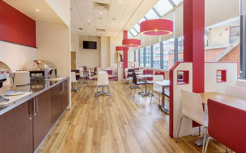 The breakfast area in Travelodge Leeds Central
