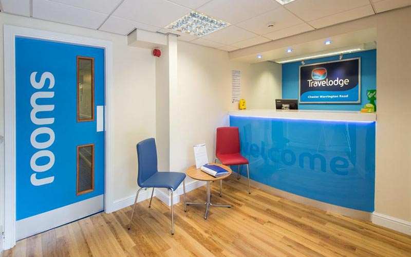 The reception area of Travelodge Chester Warrington Road