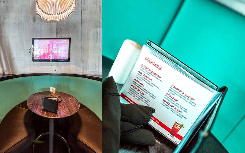 A split image of a private seating booth with a TV and a cocktail menu