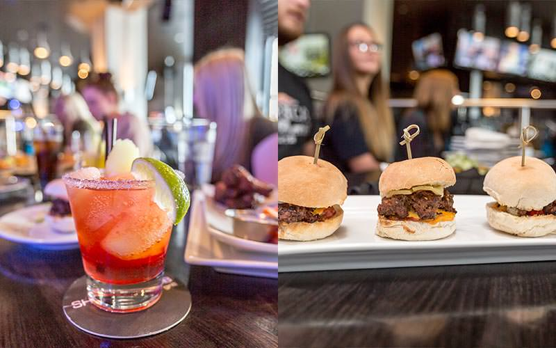 A split image of a fruity cocktail and a line of gourmet burgers
