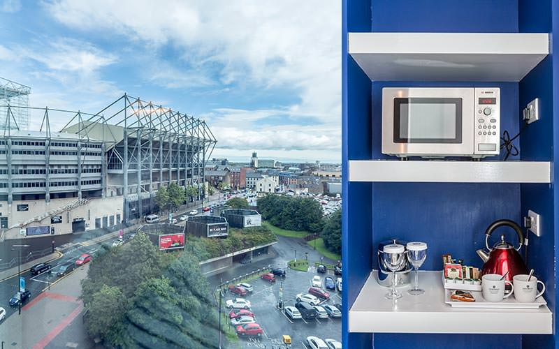 A split image of St James' Park and a microwave on some shelves