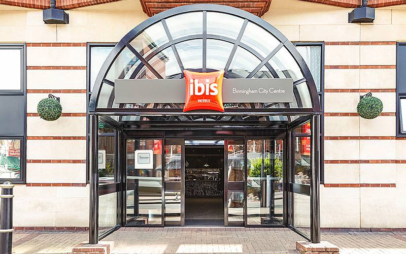 The arched entrance to the Ibis Hotel, Birmingham