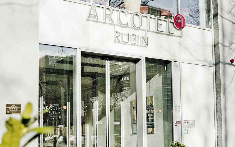 The exterior of Arcotel Rubin Hamburg
