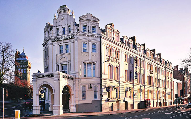 The rounded exterior of The Angel Hotel in Cardiff