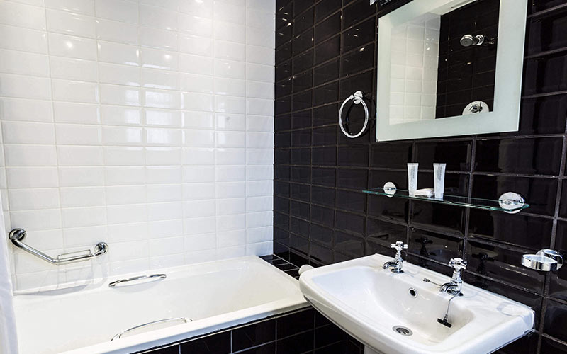 A black and white bathroom