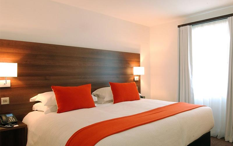 A guest bedroom at DoubleTree Hilton