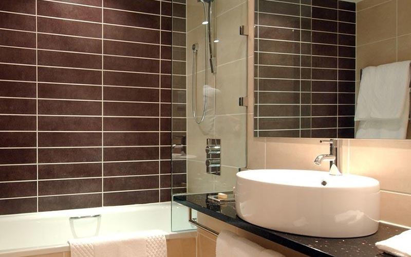 A bathroom at DoubleTree Hilton