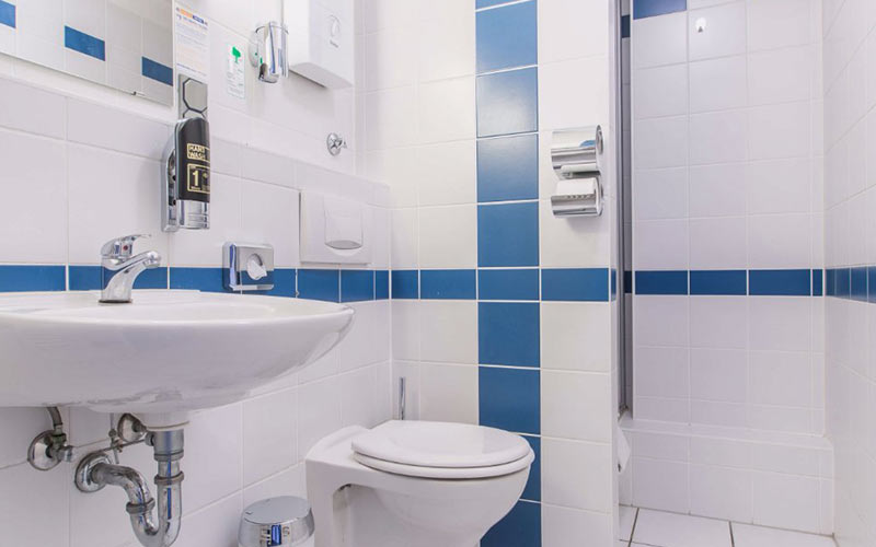 A while and blue tiled bathroom