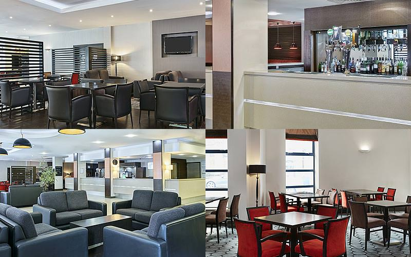 Four tiled images of seating and the bar at Holiday Inn Express Queen