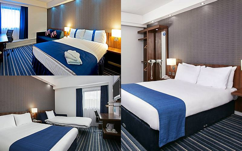 Three tiled images of double beds in hotel rooms