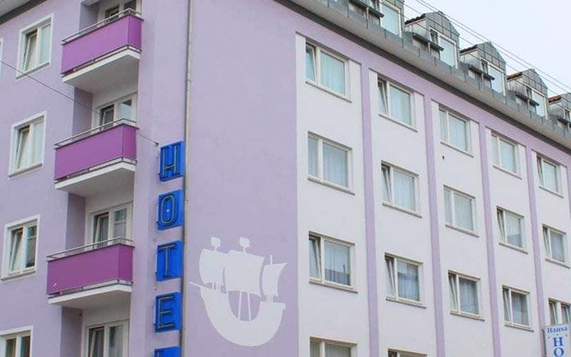 Close up of the purple hotel walls from outside