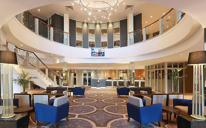 The plush interiors leading to the reception areas of Ramada Plaza in Belfast