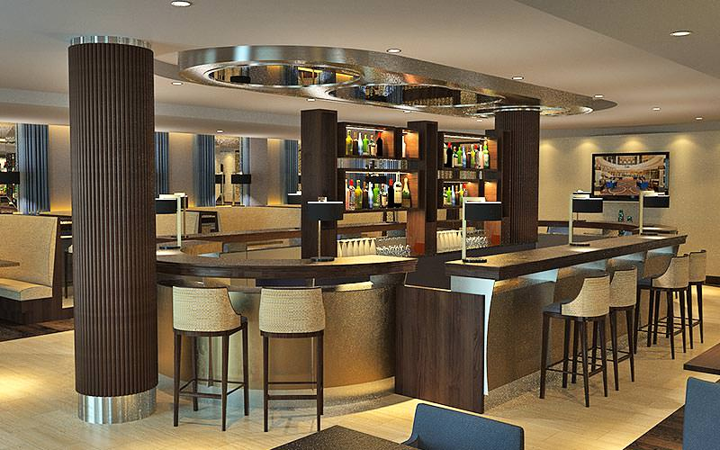 The bar area in Ramada Plaza