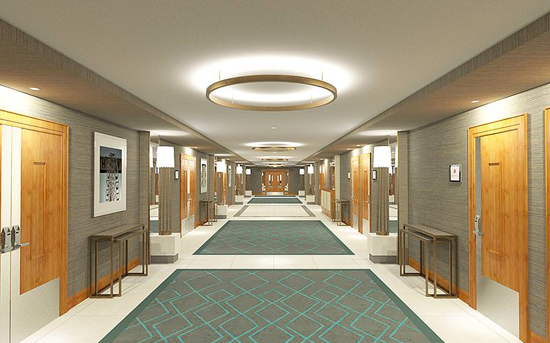 The spacious corridor area in Ramada Plaza